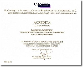 CACEI Industrial Certificada